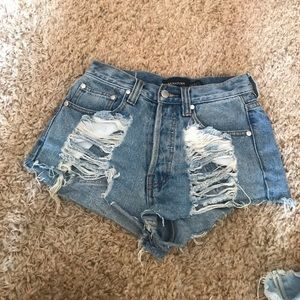 MinkPink distressed denim shorts
